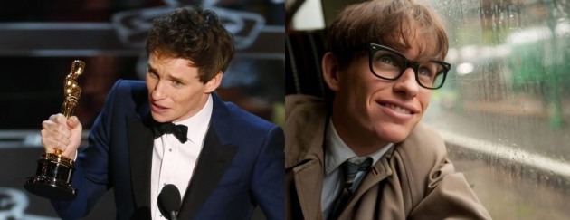 "Actor Redmayne accepts the Oscar for best actor for his role in ""The Theory of Everything"" during the 87th Academy Awards in Hollywood"
